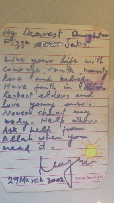 Autograph given by Major Najm ul Islam, the writer's father
