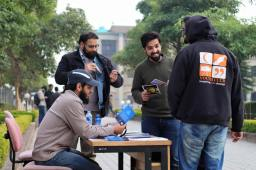 A busy dawah stall at a university