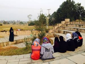 An outdoor class of Sisters' Circle